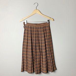 Giraffe print pleated midi skirt
